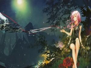 Una chica con el pelo rosa bajo un cielo estrellado