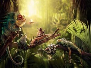 Animales reunidos en la selva
