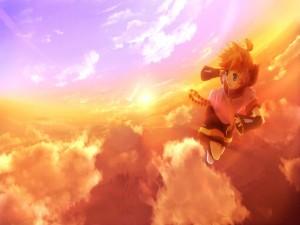 Kagamine Len volando por el cielo al atardecer