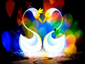 Pareja de cisnes rodeados de corazones de colores
