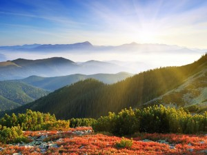 Hermoso paisaje montañoso iluminado por el sol