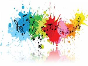 Notas musicales sobre manchas de colores