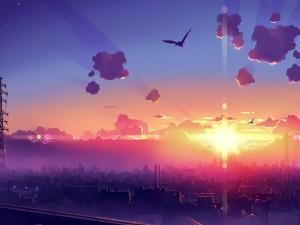 Brillante sol sobre una ciudad