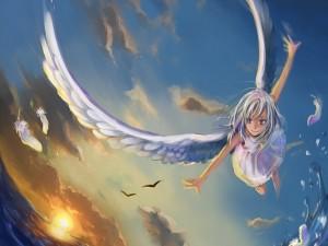 Ángel volando sobre el mar
