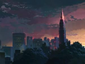 Una ciudad con grandes rascacielos