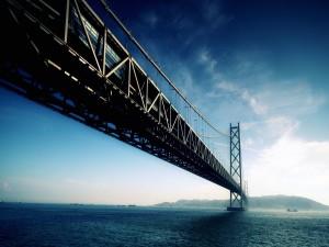 Tren circulando sobre un gran puente