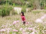 Niñas jugando en un campo de flores