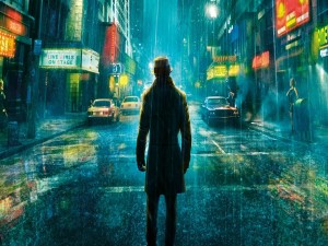 Hombre bajo la lluvia en una calle
