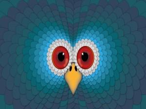 La cara de un pavo azul