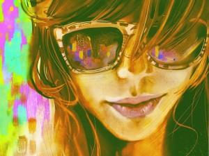Chica moderna con gafas de sol