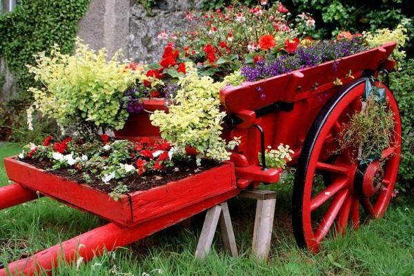 Carreta decorativa cubierta de plantas