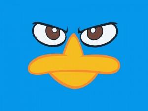 La cara de un pato azul