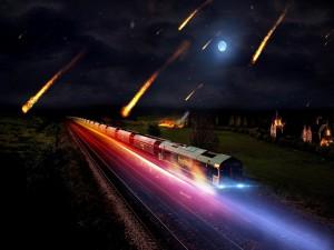 Lluvia de meteoros cayendo junto a un tren en marcha