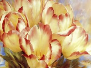 Tulipanes pintados por el artista Igor Levashov
