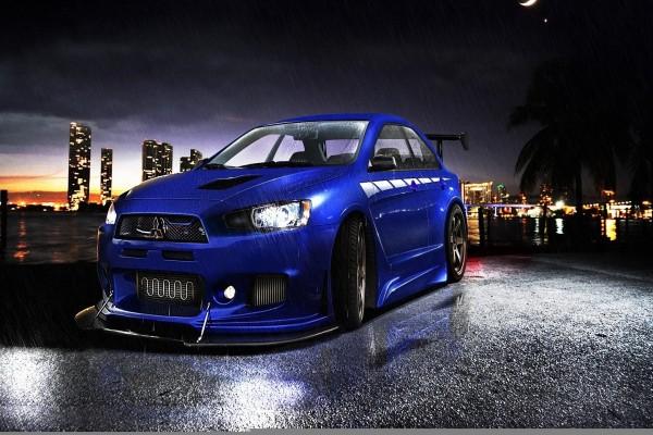 Mitsubishi bajo la lluvia