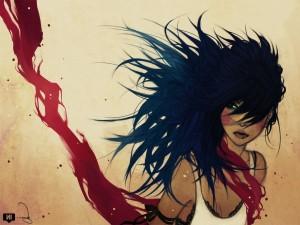 Chica morena sangrando