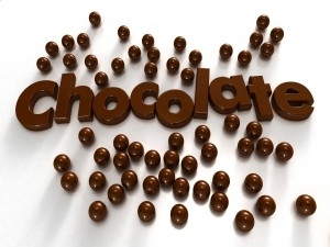 La palabra chocolate rodeada de ricas bolas de chocolate