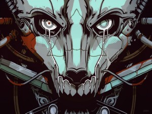 La cara de un robot cyberpunk