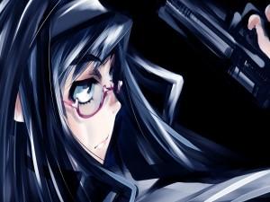 Chica anime con una pistola