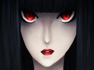 Chica anime con grandes ojos rojos