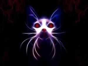 Un gato con los ojos rojos en 3D