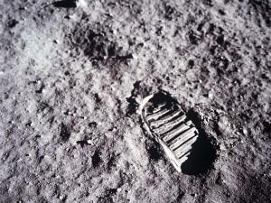 Huella en la Luna del astronauta Buzz Aldrin