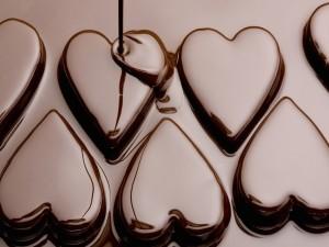 Corazones de chocolate