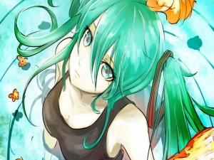 Imagen de una chica anime con el pelo y ojos de color verde