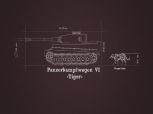Dimensiones de un tigre de Bengala y un tanque