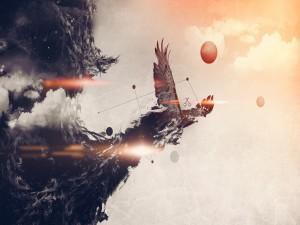 Águila escapando de la marea negra