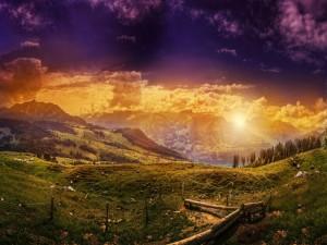 Paisaje iluminado con colinas verdes
