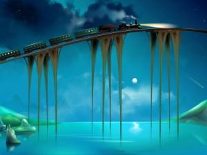 Tren iluminando su camino en una noche de luna llena
