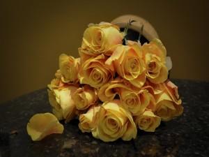 Rosas amarillas sobre la mesa