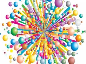 Explosión de círculos coloridos