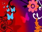 Mariposas y flores digitales