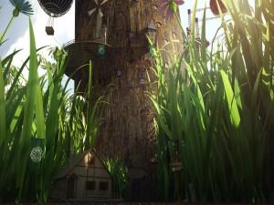 Casas en un tronco de árbol