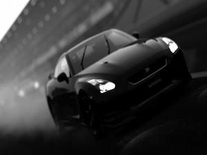 Nissan GT-R en blanco y negro
