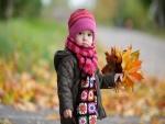 Pequeña recogiendo hojas otoñales