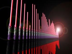 Espadas laser reflejadas