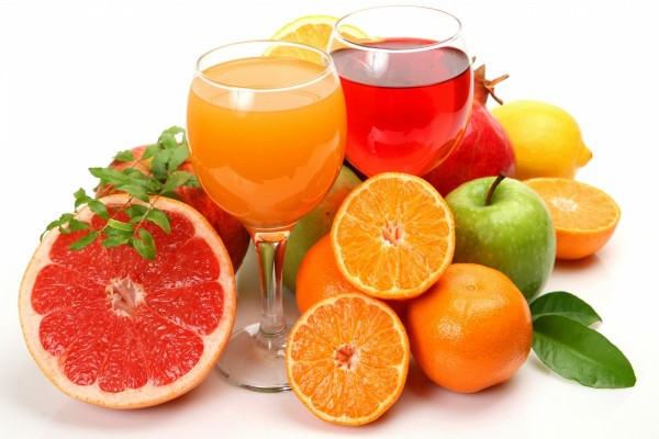 Copas con zumo de frutas