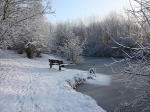 Banco nevado junto a un río congelado