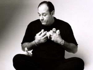 James Gandolfini con varios patitos entre sus manos