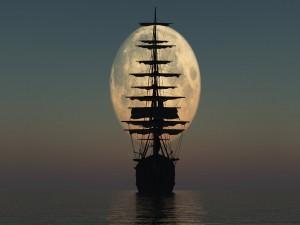 Barco navegando hacia la luna llena