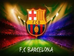 Escudo sobre el campo del Fútbol Club Barcelona