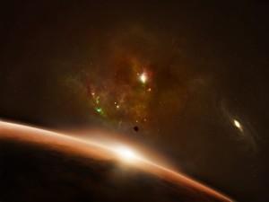 Galaxia distante en el horizonte