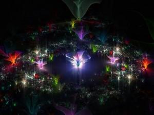 Flores iluminadas en la oscuridad