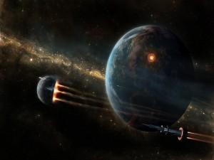 Naves espaciales volando junto a la Tierra