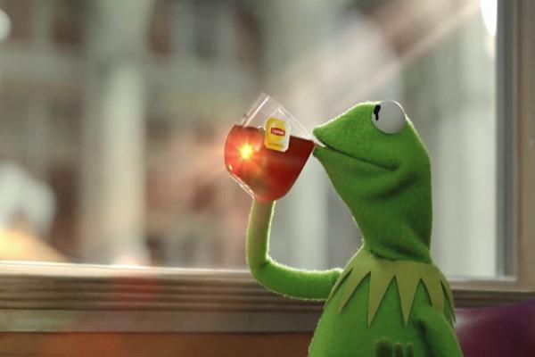 La Rana Gustavo tomando una taza de té