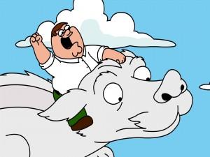 Peter Griffin volando sobre Fújur