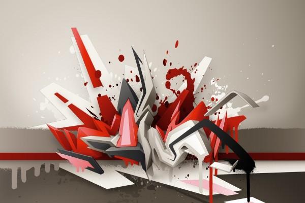 Graffiti 3D en gris y rojo
